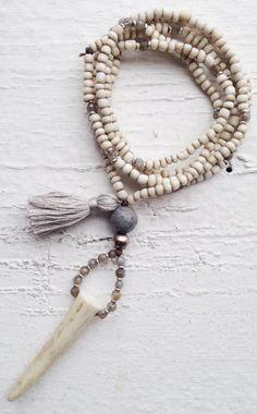 Image of Love Bead Necklace - Soft Cream Beads, Labradorites, Natural Antler, Tassel #100317