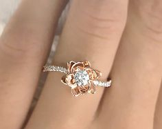 Flower Design Diamond Engagement Ring Settings 14k White Gold or 14k Yellow Gold Natural Round Cut - The Original