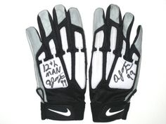 """ad972ccbe AJ Francis Seattle Seahawks Practice Worn & Signed """"12TH MAN"""" White, Black  & Gray Nike Gloves"""