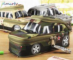 Bolsa de la pluma caja de lápices de vehículo con cerradura de combinación chicos cremallera Doble Lienzo de gran caja de Lápiz de la escuela militar de camuflaje