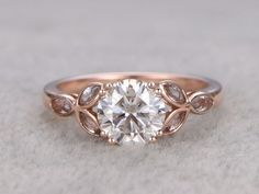 6.5mm Round Moissanite Engagement Marquise Topaz Wedding Ring 14k Rose Gold Art Deco Floral Style