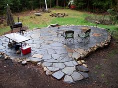 My first DIY project for the spring. Want to make an in-exact looking patio surrounded by rocks taken from the farm.
