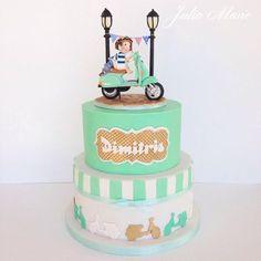 Vespa Christening Cake by Julia Marie Cakes Motorcycle Birthday Cakes, Motorcycle Cake, Girly Cakes, Fancy Cakes, Fondant Cakes, Cupcake Cakes, Cupcakes, Cake Cookies, Vespa Cake