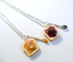 Peanut Butter Jelly Necklace Set, Best Friend's BFF Necklace, Choice of Sterling Silver Chain, Cute :D op Etsy, $11.94