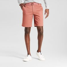 Men's Belted Flat Front Chino Shorts with Stretch Red 40 - Mossimo Supply Co.
