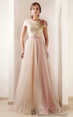 A-line Tulle Long Formal Dress with Cap Sleeves (SCDAU-825) at 4formal.com.au