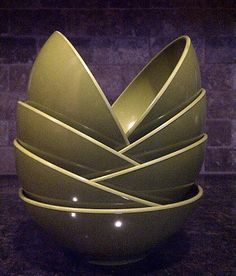 Vintage ALLIED CHEMICAL Avocado Green Bowls by maggiecastillo, $18.00