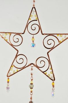 Sparkly Star Suncatcher, Swarovski Crystal copper wire art window celestial home patio garden ornament rainbow maker prism Copper Wire Crafts, Copper Wire Art, Copper Decor, Copper Work, Diy Crafts For Kids, Arts And Crafts, Craft Ideas, Biscuit, Handmade Copper