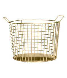Gold-colored. Large, round metal wire basket with two handles at top. Height 8 in., diameter 11 in. | H&M | $15