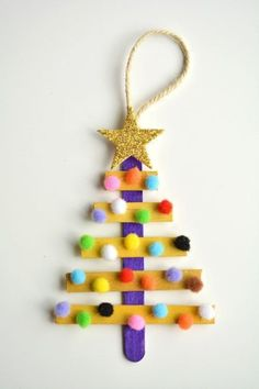 12 super cute DIY Christmas crafts for kids to make - kids crafts Stick Christmas Tree, Dollar Store Christmas, Popsicle Stick Christmas Crafts, Christmas Christmas, Kids Christmas Ornaments, Christmas Events, Christmas Island, Christmas Stickers, Christmas Wrapping
