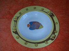 "8 1/2"" Soup Pasta Bowl~Patricia Deroubaix by FRAGILE~Porthole~Limoges Porcelain | eBay Painted Candlesticks, Parrot Tulips, Rose Vase, Rose Decor, Marine Fish, Angel Fish, Fish Design, Painting Cabinets, Bowl"