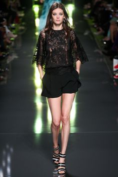 Ready for the Night Out in this Delicate Black Lace Top and Black Shorts ...Elie Saab - Spring 2015 Ready-to-Wear - Look 8 of 51