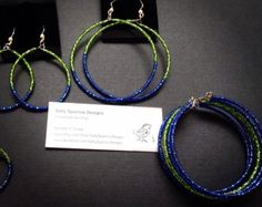 Seahawks Inspired Earrings // Seattle Football Jewelry // Green and Blue // Team Spirit // Salty Sparrow Designs