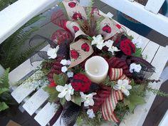 Primitive~Ladybug Candle Ring~ Mesh~Bow~ Cloth Ladybugs~CANDLE NOT INCLUDED