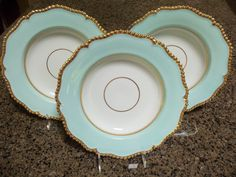 Antique Worcester Dinnerware Set/3 Flight Barr and Barr Soup Bowls/Circa 1820/Soft Aqua Border/Gadrooned Gilt Edge/Neoclassical/ Collectible by StyleJunkieAntiques on Etsy