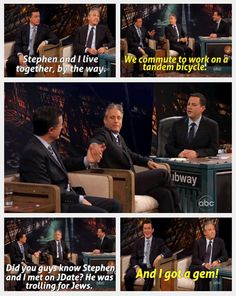 Stephen Colbert John Stewart on Jimmy Kimmel Live. Jon Stewart Stephen Colbert, John Stewart, Late Night Comedians, Colbert Report, Funny Memes, Hilarious, The Daily Show, Political Satire, The Funny