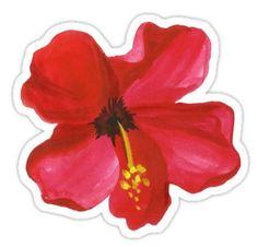 'Summer watercolor beautiful tropical flower' Sticker by BarcelonaShop Cute Laptop Stickers, Bubble Stickers, Cool Stickers, Printable Stickers, Journal Stickers, Notebook Stickers, Homemade Stickers, Floral Logo, Decoupage Vintage