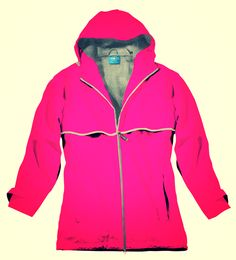 New Hot Pink Color in Monogrammed Rain Jacket!  www.kellykottage.com Like us https://www.facebook.com/KellyKottageBoutiqueMonograms