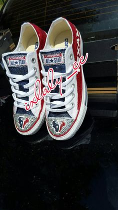 Custom Texans Chucks by IxlalysCC on Etsy Texans Game, Houston Texans Football, Fall Football, Football Cheer, Softball, Bling Converse, Best Gifts For Mom, Houston Rockets, Chuck Taylor Sneakers