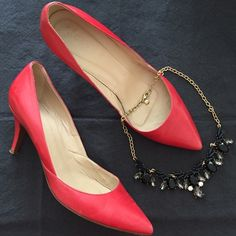 """J. Crew Valentina leather pumps Beautiful red leather """"Valentina"""" heels • some minor scuffing in the leather and minor creasing at the toes- what you would expect from a leather heel •fits true to size •3"""" heel height great versatile shoe that everyone needs in their closet! Made in Italy with Italian leather • make me an offer!  J. Crew Shoes Heels"""