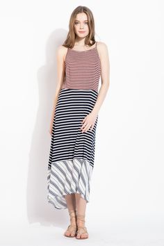 Mixed stripe contrast maxi great for summer.
