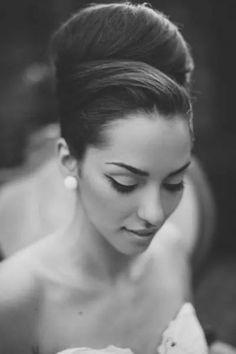 African American. Black Bride. Wedding Hair. Natural Hairstyles. Upswept bang updo. Classic and elegant.
