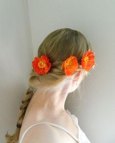 Poppy Flower Bobby Pin Trio  Woodland Flower by VioletteandIris, $24.00