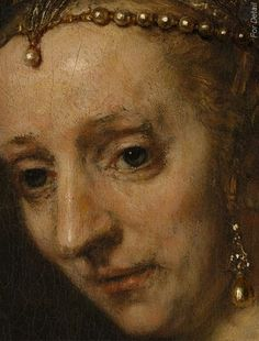 Woman with a Pink - Rembrandt van Rijn -1660s - detail