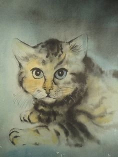 Tabby cat portrait expressionist watercolor painting. Original vintage art signed Michel 72. Modernist decor. From VintageArtCafe.