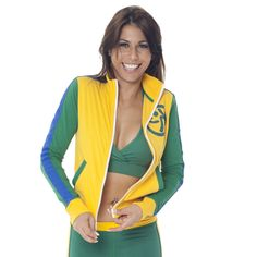 Brazil Track Jacket | Zumba Fitness Shop New World collection in your favorite World Cup team colors! Click to shop with 10% discount http://www.zumba.com/en-US/store/US/affiliate?affil=10sale