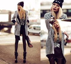 Sheinside Coat, Choies Leggings, Sinstar Shirt, Brashy Couture Beanie, Envi Shoes Boots, Nixon Watch