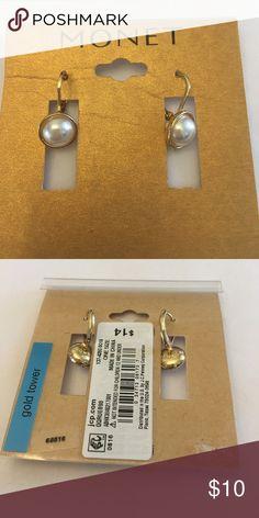 Monet Earrings Gold Monet earrings with faux pearl center Monet Jewelry Earrings