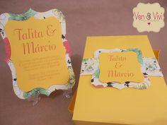 Convite Caixa Amarelo (CV006) - Van&Vivi Eventos.