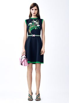 Christopher Kane | Pre-Fall 2015 | 17 Blue belted sleeveless mini dress with green floral detail