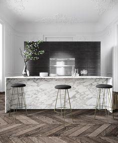 Marble island. marble kitchen