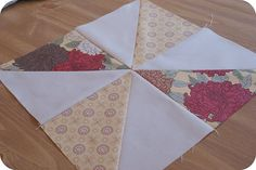 pinwheel sampler quilt along: block two by rachelgriffith, via Flickr, great example of reducing seam bulk on the back of the block!