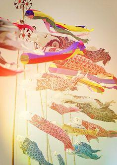 Carp streamers for Children's Day. Japan.