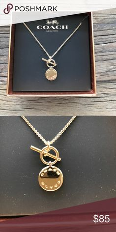 """Coach Signature Gold Necklace Beautiful Gold Coach """"disc"""" necklace. NWT Chain is adjustable 16"""" 17"""" & 18"""" long. Coach Jewelry Necklaces"""