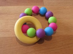 Silicone Teething Ring A beautiful colourful teether that your baby will love! The ring and beads are made from food grade Teething, Food Grade, Beads, Rings, How To Make, Color, Etsy, Beautiful, Beading