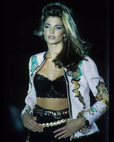 Happy birthday to supermodel Stephanie Seymour, photographed here for the S/S 1992 runway by Michel Arnaud. The Museum's Michel… Stephanie Seymour, Supermodels, Versace, Modeling, Runway, Happy Birthday, Museum, Retro, Girls