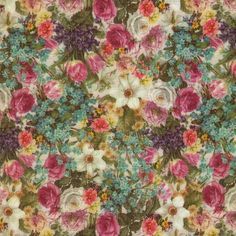 Pink and Green vintage ditsy floral print Ponte Roma Jersey. 67% Polyester 31% Viscose 2% Elastane, £12.50, w148cm