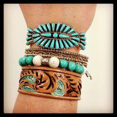 One way to wear our handmade leather bracelets www.margaretvera.etsy.com