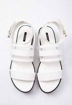 Mesh-Paneled Faux Leather Sandals   Forever 21 - 2000094837