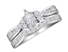 So close to my dream ring  Amazon.com: Diamond Marquise Engagement Ring & Wedding Band Set 1/2 Carat (ctw) in 14K White Gold: Jewelry