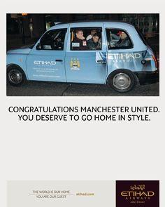 Etihad advert using paparazi photo of Manchester United players using a Etihad/Manchester City sponsored taxi Manchester United Players, Manchester City, Taxi Advertising, Premier League Champions, New Champion, Ad Design, Transportation, Haha, Congratulations