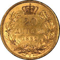 1882 V Serbia Gold 20 Dinars...
