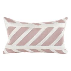 """The Nina long pillow pairs a classic stripe pattern with rose linen to create a modern accessory. With appliqued cowhide on linen backing, this pillow beautifully enhances a sofa, chair or bed. 20""""W x 12""""H; Irish and Belgian linen; Feather/down insert included; Dry clean only; Made in the USA"""
