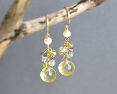 Multi Gem Earrings 14k Gold Filled Gemstone by emarcidorchid