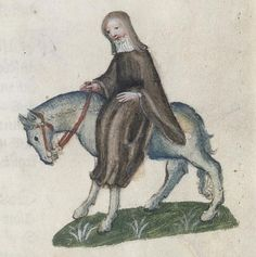 "Chaucer scholars have generally settled on April as the date his pilgrims departed for Canterbury. From the fifteenth-century illustrations from the Ellesmere manuscript of ""The Canterbury Tales"": The Second Nun. Chaucer Canterbury Tales, Main And Tail, Medieval Horse, Geoffrey Chaucer, Huntington Library, Icelandic Horse, Illustrations And Posters, Vintage Illustrations, 14th Century"