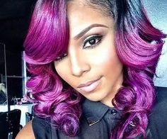 wholesale purple ombre wig ombre glueless full lace wigs side part with bangs two tone color purple human hair Pompadour, Weave Hairstyles, Pretty Hairstyles, Track Hairstyles, Red Hairstyles, African Hairstyles, Afro, Hair Rainbow, Locks